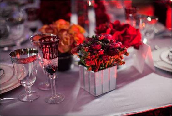 Regal wedding reception flower centerpiece- red roses and freesia