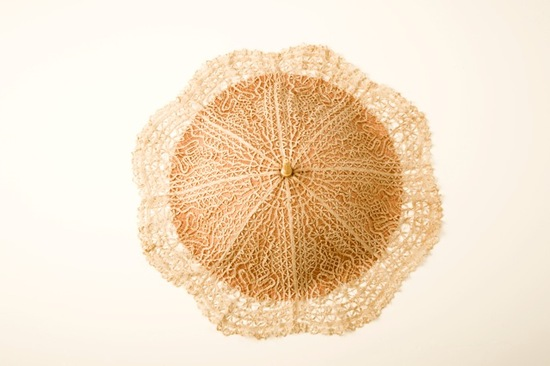 Lovely vintage bridal parasol in natural wedding color palette