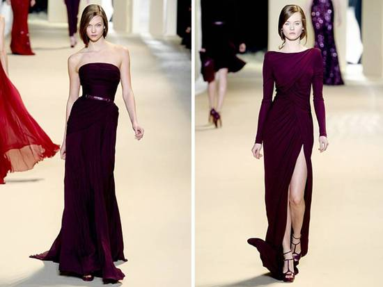 Eggplant purple Elie Saab 2011 gowns with daring slits and skinny belts