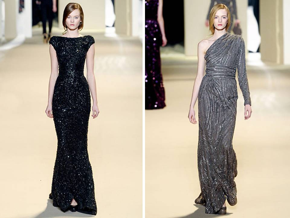 Black and grey sequin adorned gowns by elie saab for Black and grey wedding dress