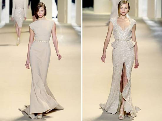 Fall 2011 Elie Saab beige gowns- bateau neck, mermaid silhouette, dazzling beading