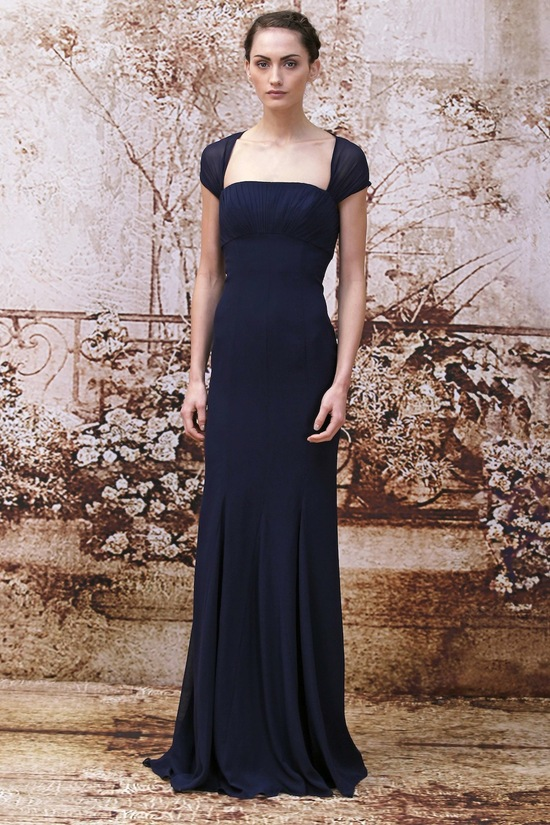 Navy bridesmaids dress from Monique Lhuillier