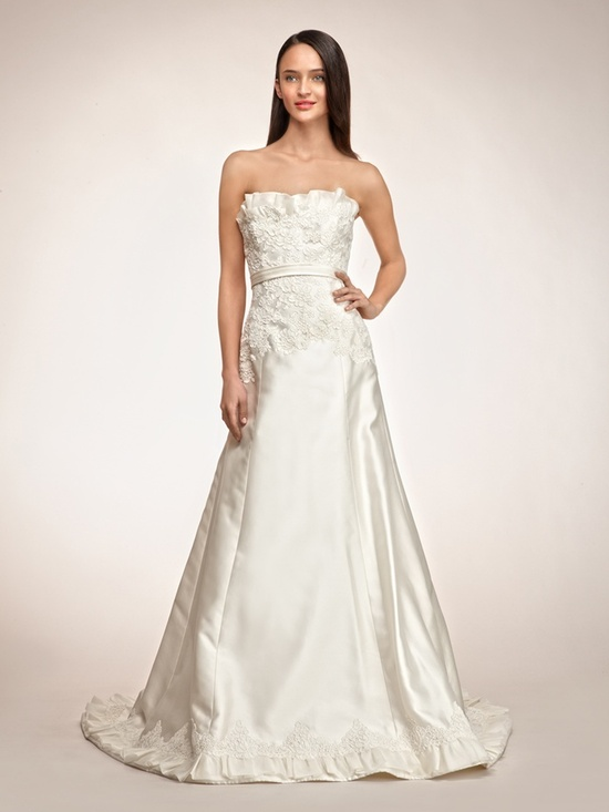 Luxe ivory strapless a-line Rivini wedding dress with floral applique