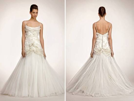 Glamourous drop-waist tulle mermaid wedding dress with beaded bodice