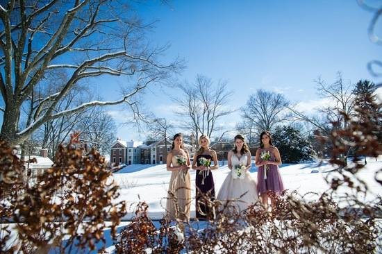 Bridesmaids in a winter wonderland