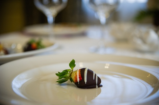 Chocolate cover strawberry for a winter wedding
