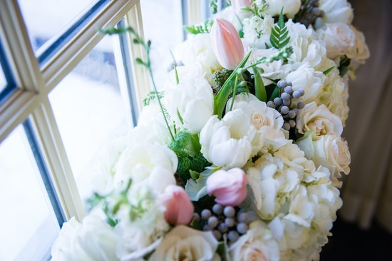 Winter wedding flowers in a windowsill
