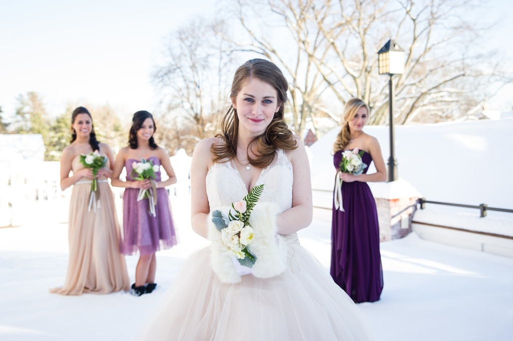 Winter wonderland bride with bridesmaids