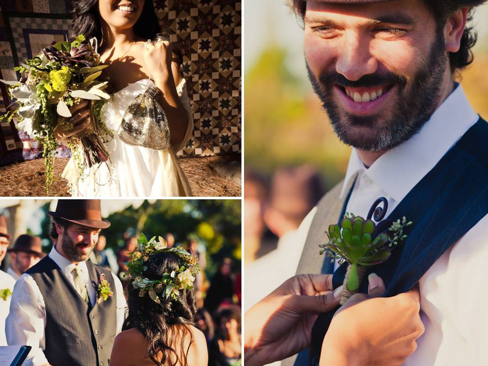 Eco-friendly wedding flowers- succulent boutinniere, bridal bouquet featuring succulents