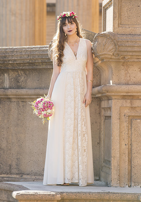 Offbeat lace wedding dress