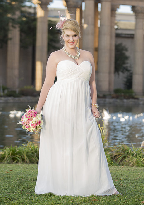 Blush floor lenght bridesmaids dress