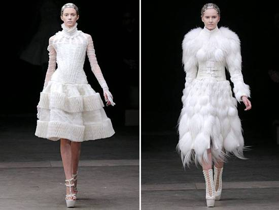 Alexander McQueen dove grey and ivory cocktail dresses for your wedding reception