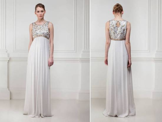 Grecian-inspired ivory wedding dress with heavily-embellished bodice