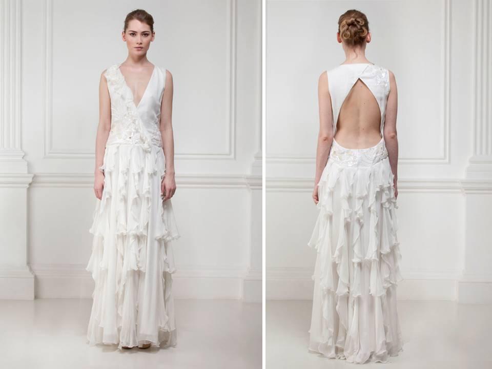 V-neck flutter wedding dress with dramatic open back