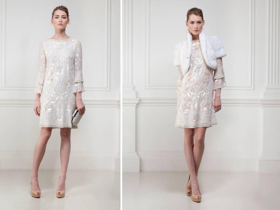 Vintage-inspired short shift dress for wedding reception