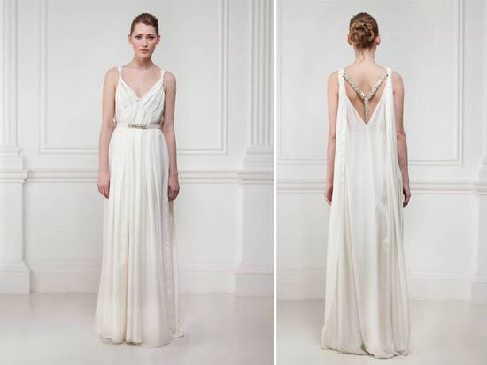 Feminine v-neck ivory wedding dress with open statement back