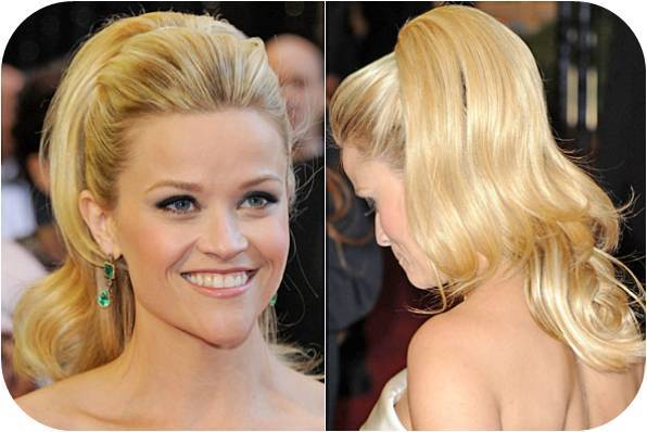 Reese Witherspoon wore a retro-inspired ponytail to the 2011 Oscars