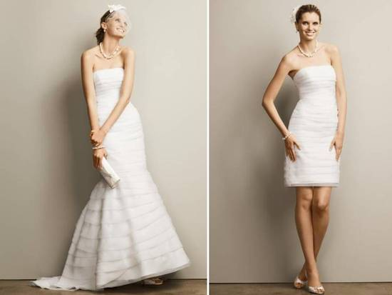 David's Bridal 2-in-1 strapless wedding dress, mermaid silhouette