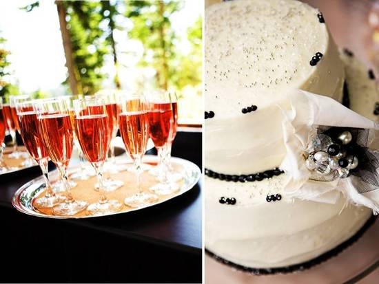 Butler-passed pink champagne and white wedding cake at Tahoe reception