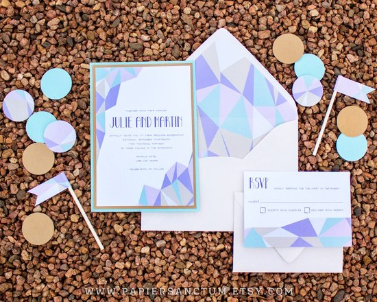 Modern Crystal Wedding Invitation Set