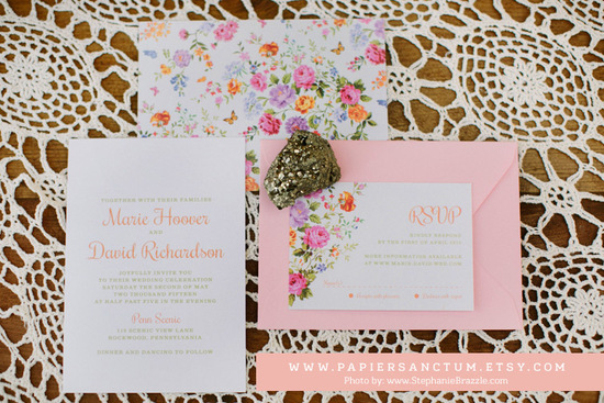 Vintage Floral with Modern text Wedding Invitations