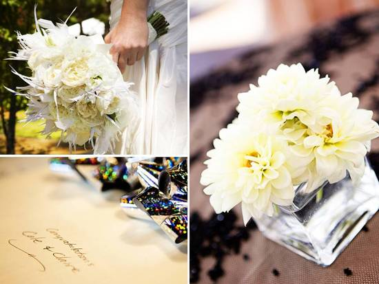 photo of Lake Tahoe Wedding: Sophisticated Color Palette, Lace and Feather Accents