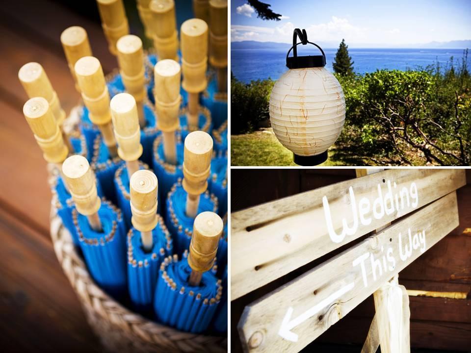 Outdoor-summer-wedding-blue-umbrellas-for-wedding-guests-custom-sign.full
