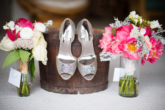Bridal shoes and bouquets