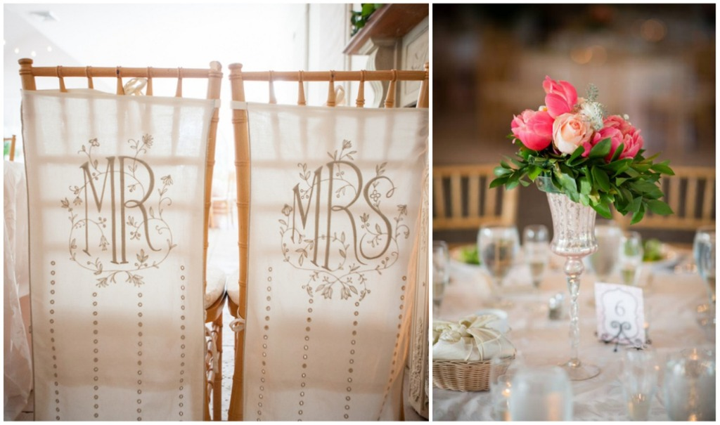 Reception centerpieces and Mr and Mrs chairs