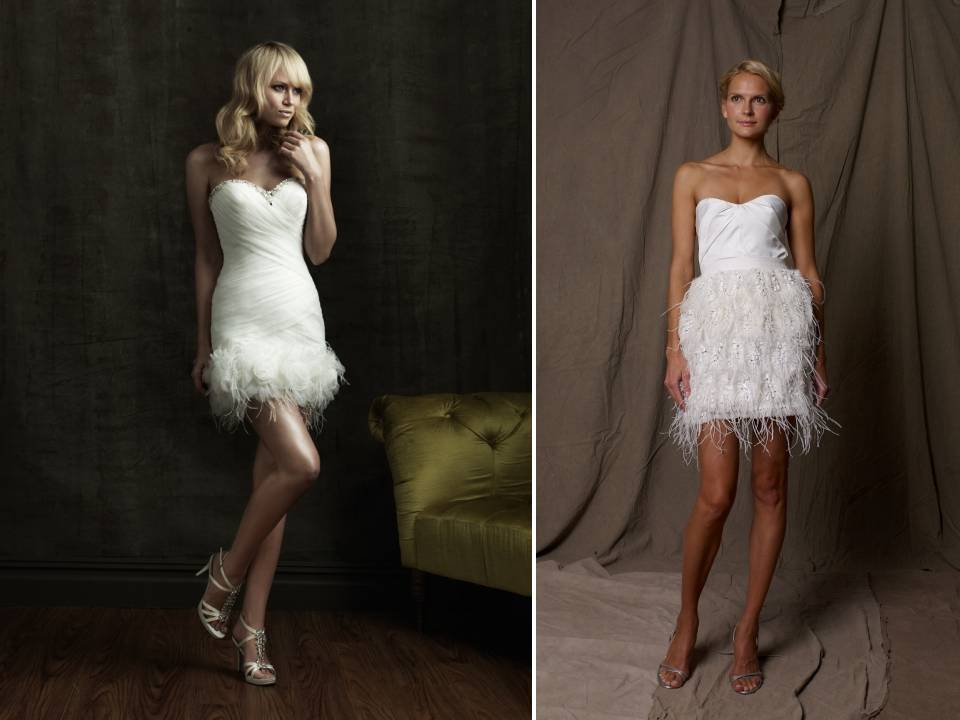 Short wedding reception dresses with feather details for Bridal wedding reception dresses