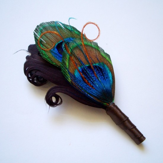 photo of Peacock feather bout for your groom