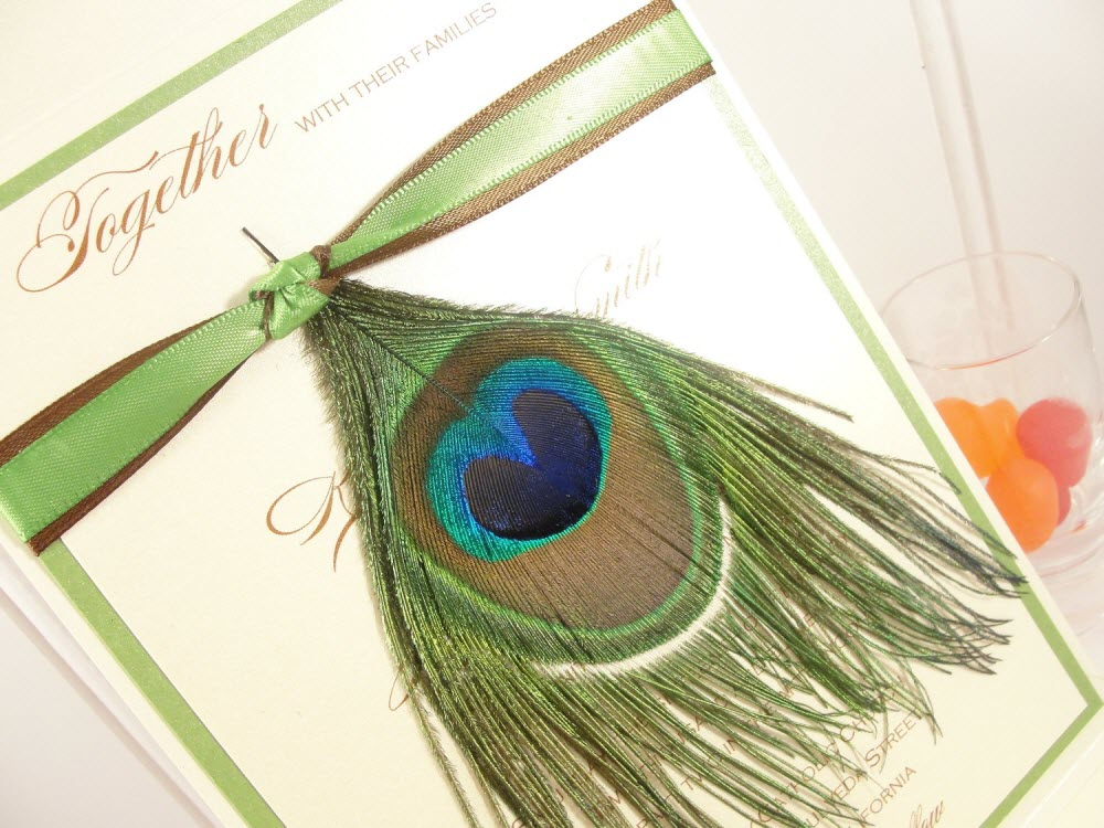 Peacock Feather Wedding Invitation: Chic Wedding Invitation Adorned With Genuine Peacock