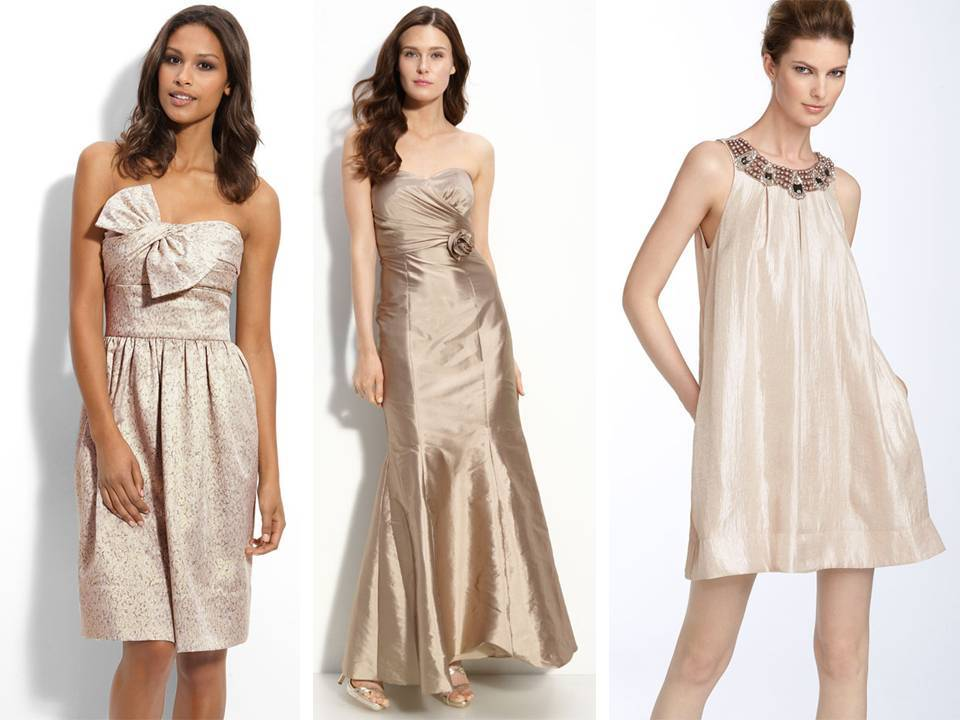 Mix and match bridesmaids\' dresses from Nordstrom in champagne/blush ...