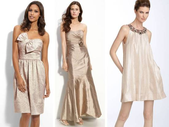 Mix and match bridesmaids' dresses from Nordstrom in champagne/blush/taupe wedding color palette