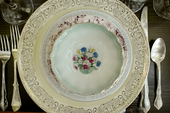 Antique china place setting