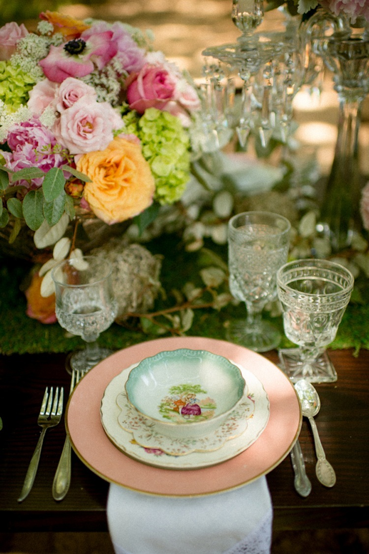 Antique china table setting