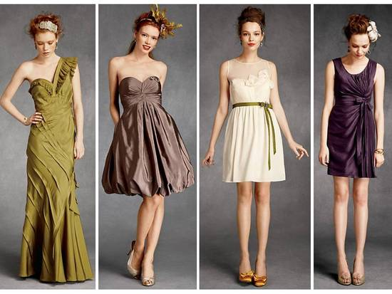BHLDN olive green, cream and purple bridesmaid dresses