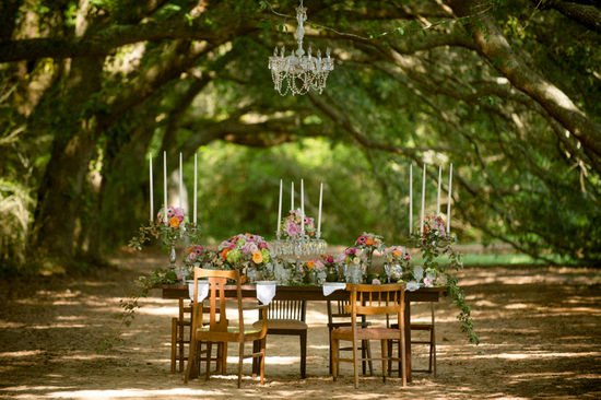 Rustic reception in the woods