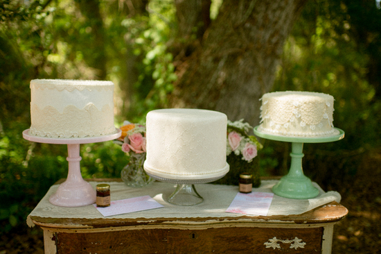 Three white cakes for an outdoor styled shoot