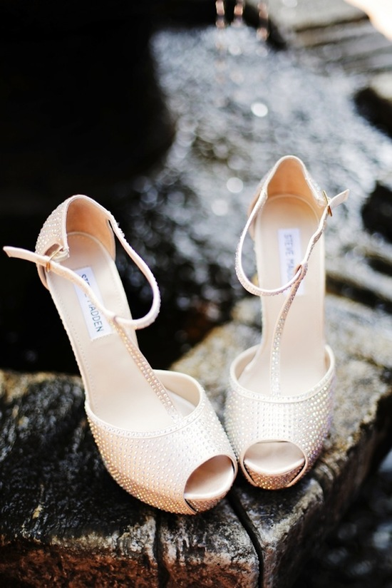 Glittery bridal heels for a destination wedding