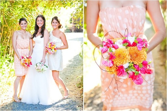 Outdoor summer wedding with peach polka dot and ivory metallic mix n match bridesmaids dresses