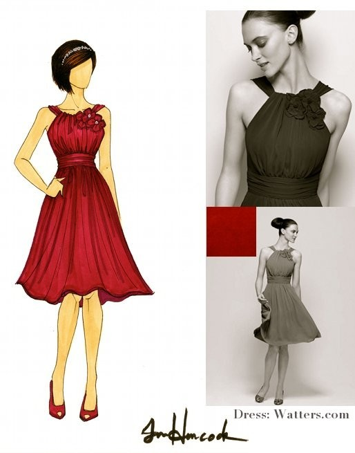 Illustration of bridesmaid in red Watters bridesmaid dress and peep-toe heels
