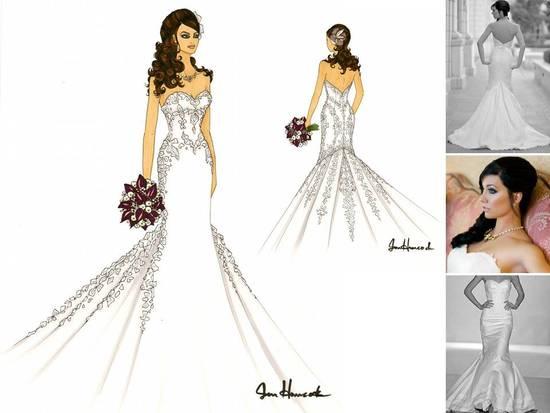 Strapless Mermaid Wedding Gown: Artistic Sketch Of Bride In White Strapless Mermaid