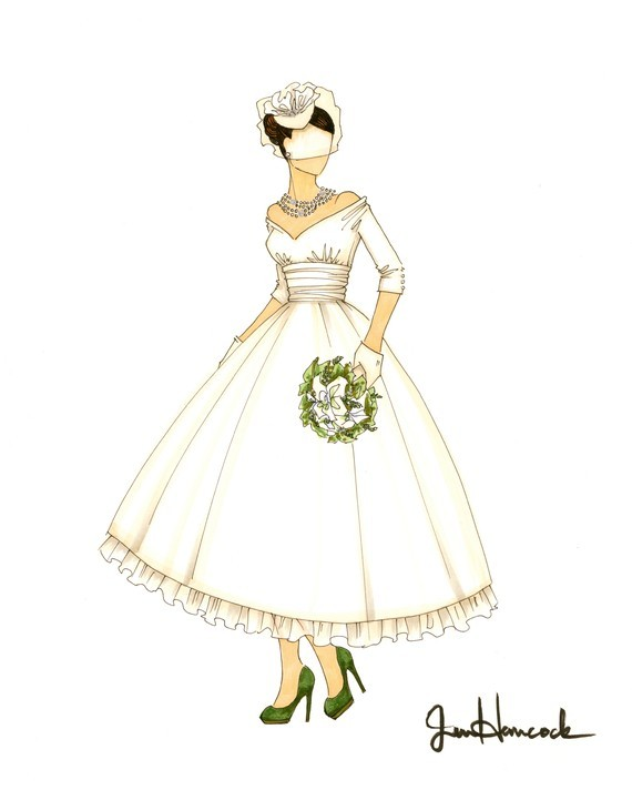Illustrated Vintage Bride Wears Bird Cage Veil And Tea Length Ballgown Wedding Dress
