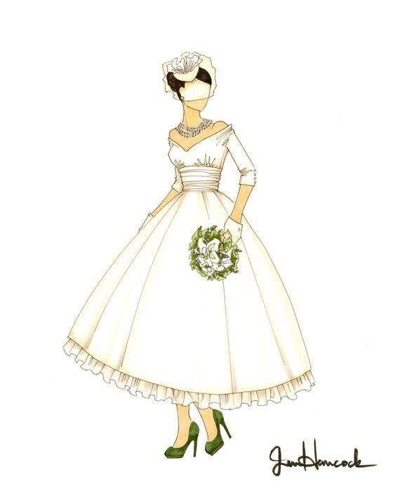 Etsy-weddings-retro-wedding-dress-tea-length-illustration.full
