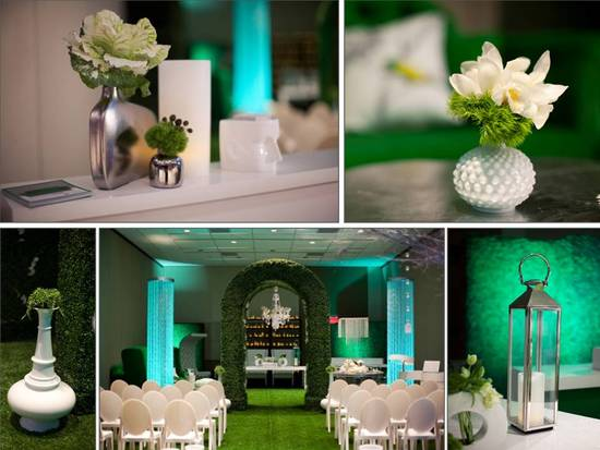 Green, white and turquoise wedding color palette, reception table centerpieces and ceremony aisle ru