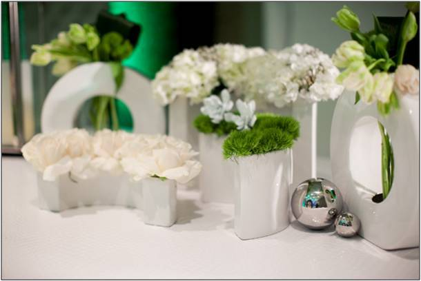 and fresh white, green and silver wedding ceremony flower arrangements