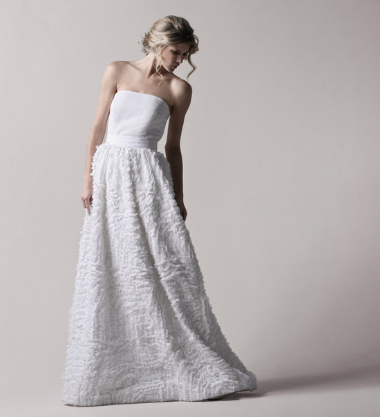 Strapless full a-line Thread Social wedding dress with textured skirt