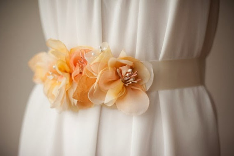 Bridal sash in yellow from The Weddie