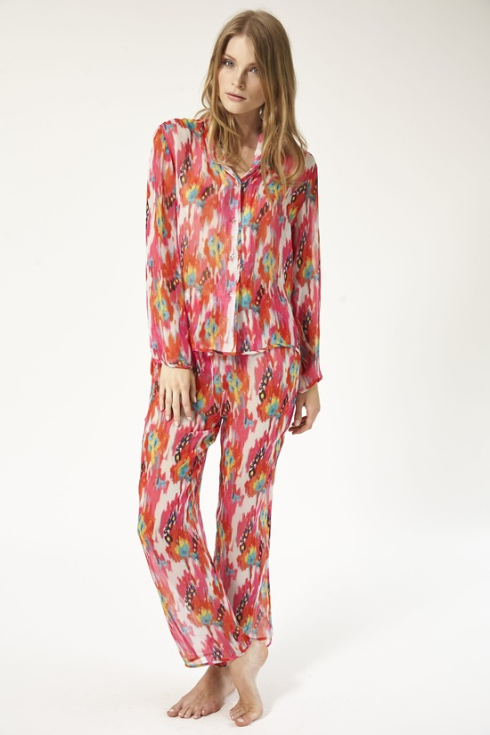 Colorful silk pajamas for winter